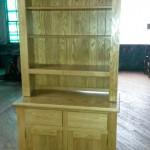 "Buffet & Hutch, solid oak, colour golden oak 80""hx36""w. Two draws, two doors, open top no doors."